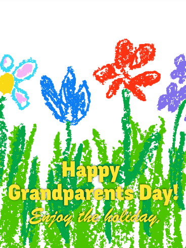 Drawing Flower Grandparents Day Card