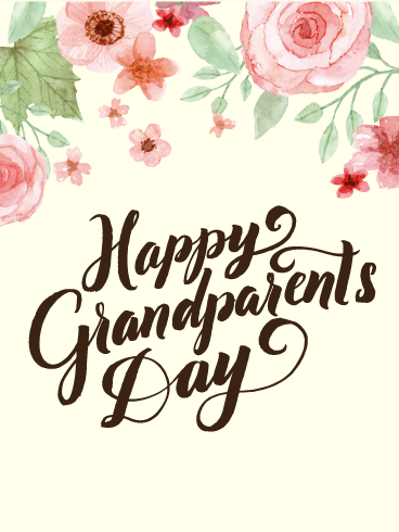 Water Paint Flower Grandparents Day Card