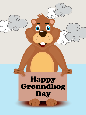 Comic Designed Groundhog Day Card