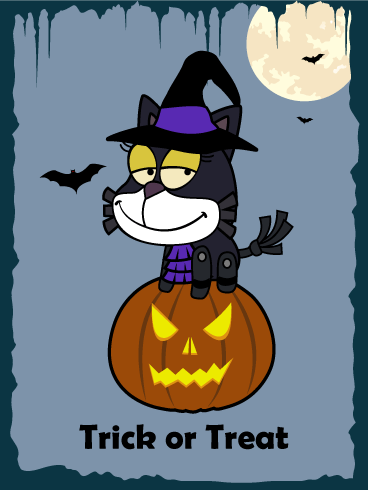Black Cat on the Pumpkin - Halloween Card