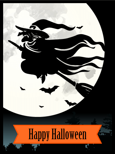 Flying Witch Halloween Card