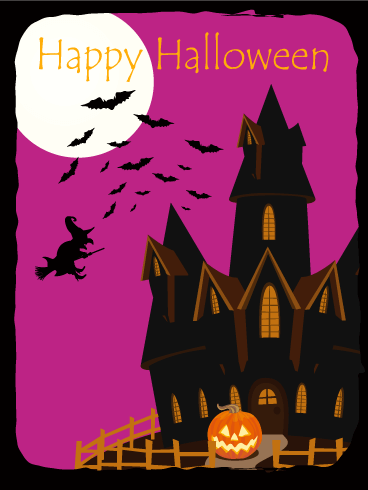 Horror House Halloween Card