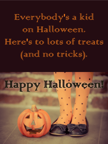 No Tricks Funny Halloween Card Birthday Greeting Cards By Davia