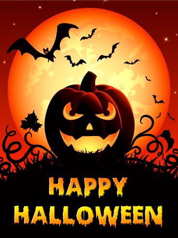 Spooky Smile Halloween Pumpkin Card Birthday Greeting Cards By Davia