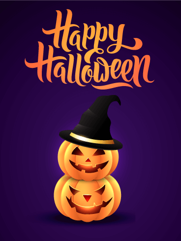 Twin Halloween Pumpkin  Card