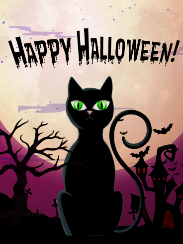 Halloween Black Cat Card | Birthday & Greeting Cards by Davia