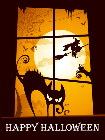 Don't Look at Window! Happy Halloween Card