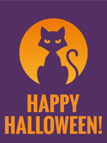 Staring Cat Happy Halloween Card