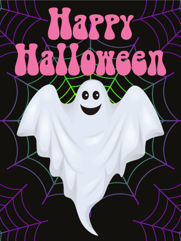 Charming Ghost Happy Halloween Card
