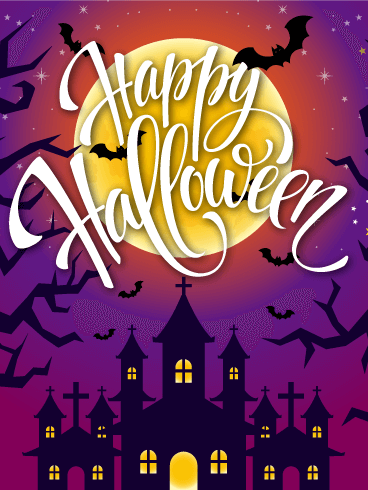 Purple Night! Happy Halloween Card
