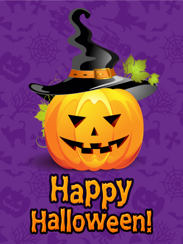 Witch Hat Pumpkin Happy Halloween Card
