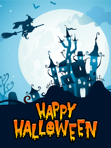 Blue Night! Happy Halloween Card