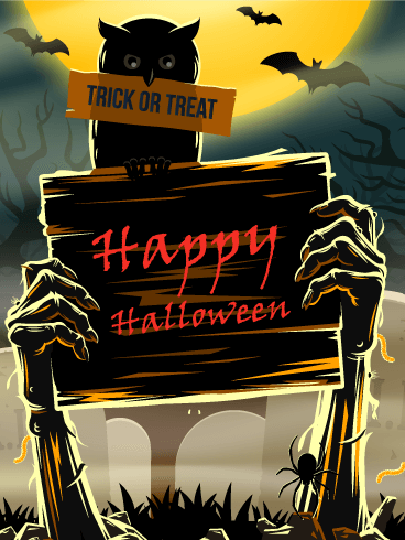 Zombie Night - Happy Halloween Card