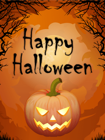 Genial Creepy Pumpkin Happy Halloween Card