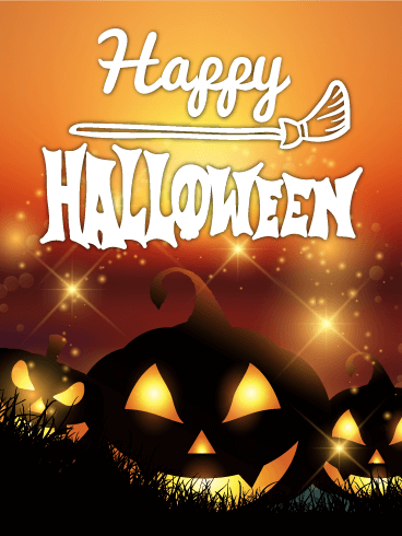 Shining Pumpkin Happy Halloween Card