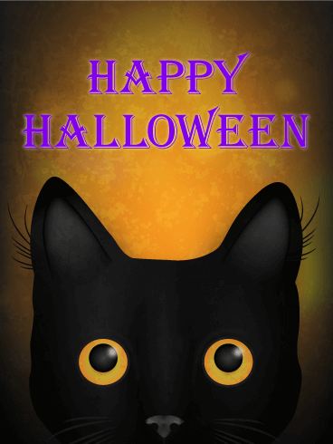 Gazing Halloween Black Cat Card | Birthday & Greeting Cards by Davia