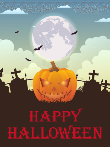 Grinning Pumpkin Happy Halloween Card