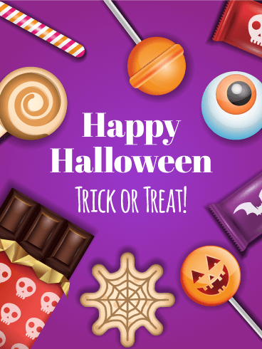 Trick or treat greeting cards birthday greeting cards by davia happy halloween card m4hsunfo Choice Image