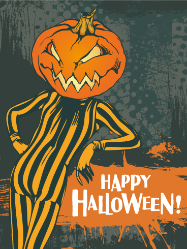 Cool Retro Pumpkin Halloween Card
