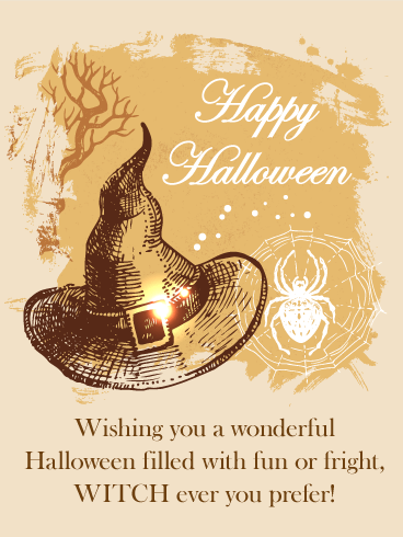 Old Fashioned Witch Hat Halloween Card Birthday Greeting Cards