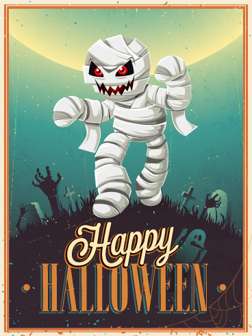 Retro Graveyard Mummy Halloween Card