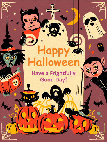 Frightfully Good Day Vintage Halloween Card