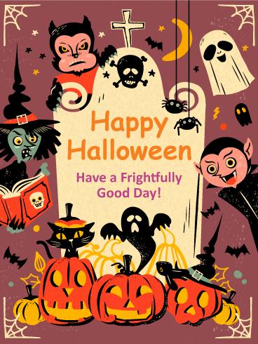 Frightfully Good Day Vintage Halloween Card   Birthday & Greeting Cards by  Davia