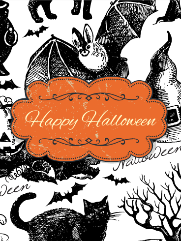 Old Fashioned Hand Drawing Halloween Card Birthday Greeting