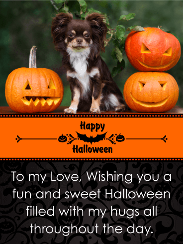 Adorable Puppy & Pumpkins Romantic Halloween Card