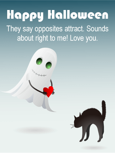 Ghost & Black Cat Romantic Halloween Card