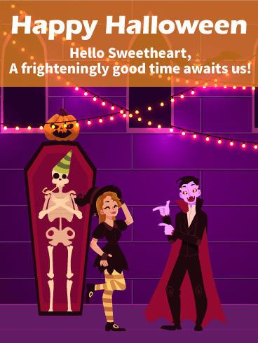 Let's Have Frighteningly Good Time! Romantic Halloween Card