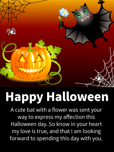 Cute Bat & Pumpkin Romantic Halloween Card