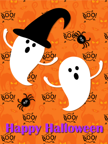 Ghost & Spider Halloween Card