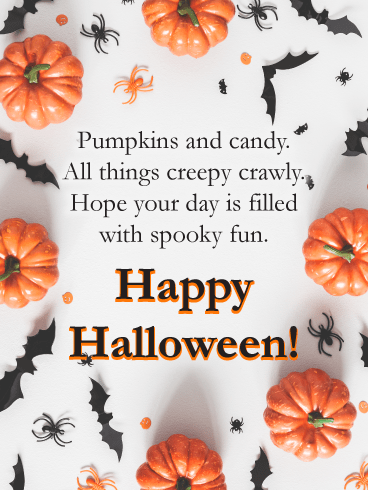Pumpkins, Spiders & Bats – Happy Halloween Card