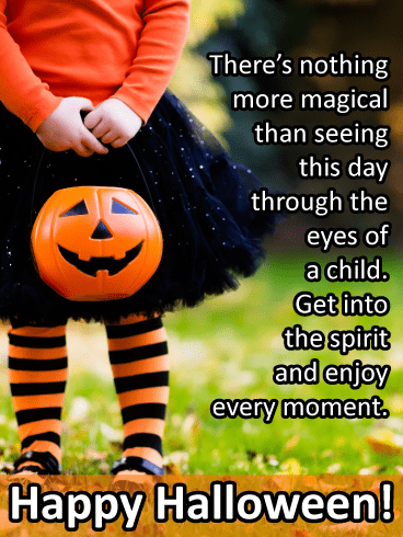 Little girl with pumpkin – Happy Halloween Card