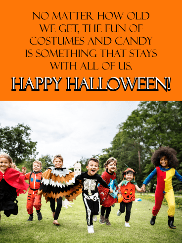 Trick-or-treaters on the move – Happy Halloween Card