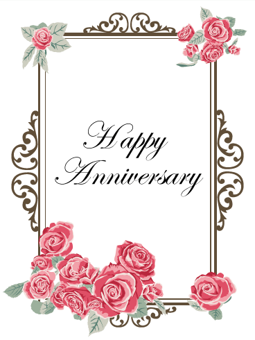Pink Rose Anniversary Card