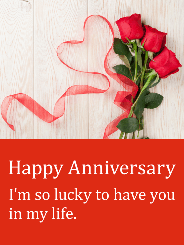 Red Ribbon & Rose Happy Anniversary Card