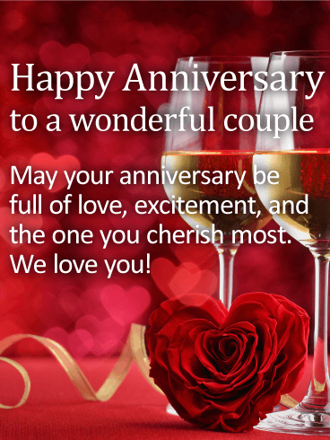 To a Wonderful Couple - Happy Anniversary Card