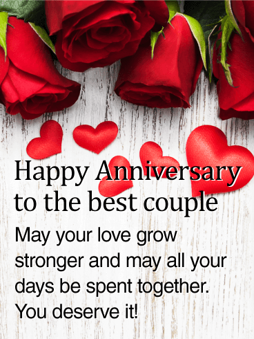 To the Best Couple - Rose Happy Anniversary Card