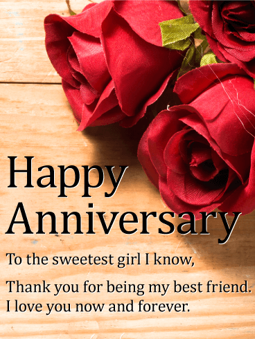 To the Sweetest Girl - Happy Anniversary Card