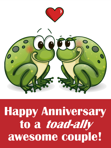 Two Loving Toad  Funny Anniversary Card