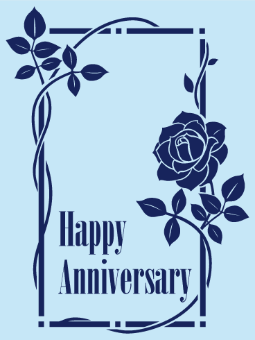 Blue Rose Happy Anniversary Card