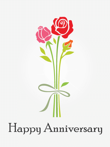 Red Rose Happy Anniversary Card