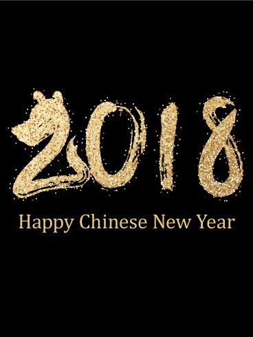 black golden chinese new year card 2018