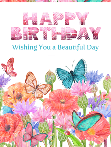 Beautiful Butterflies & Flowers – Happy Birthday Card
