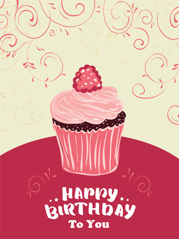 Delicious Cupcake & Swirls – Happy Birthday Card