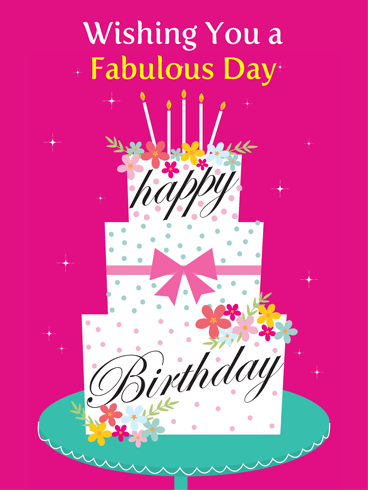 Fancy Pink Cake – Happy Birthday Card