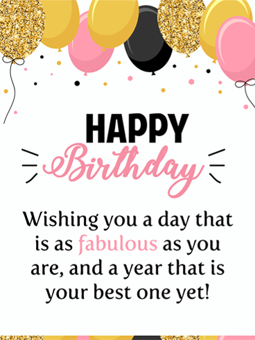 Golden Celebration Balloons – Happy Birthday Card