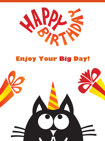 Fun Cat & Presents – Happy Birthday Card